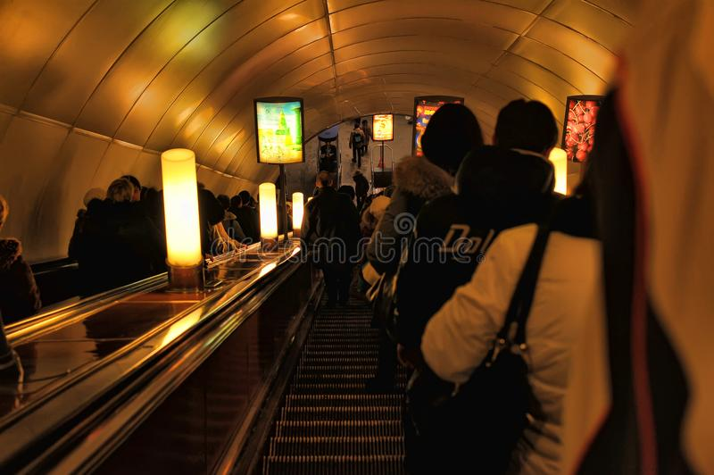 Passengers on the escalator in the metro royalty free stock images