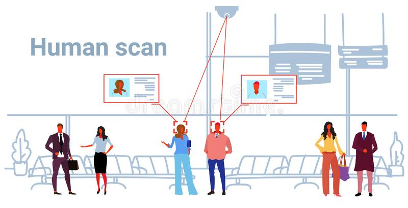 Passengers identification facial recognition concept people standing modern airport hall interior security camera royalty free illustration