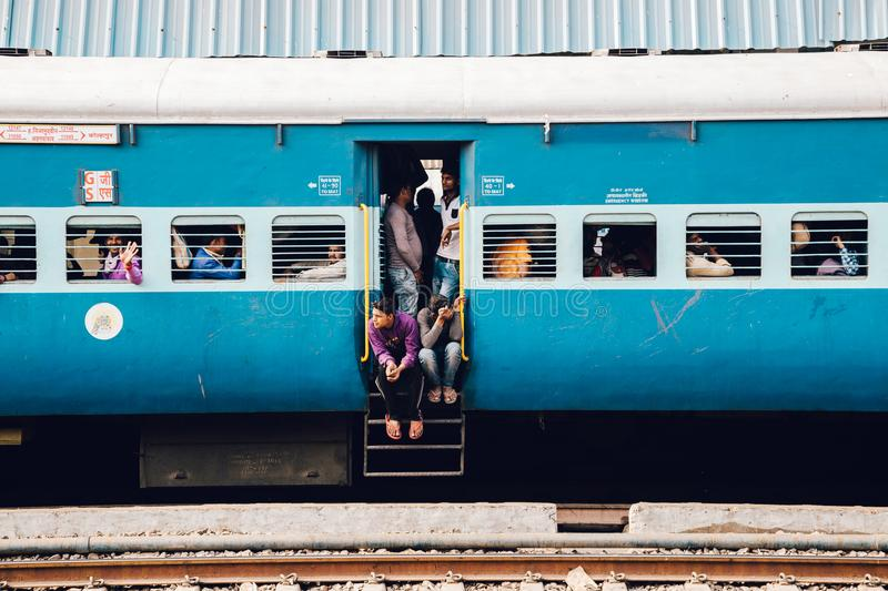 Old train and passengers in Gwalior, India royalty free stock image