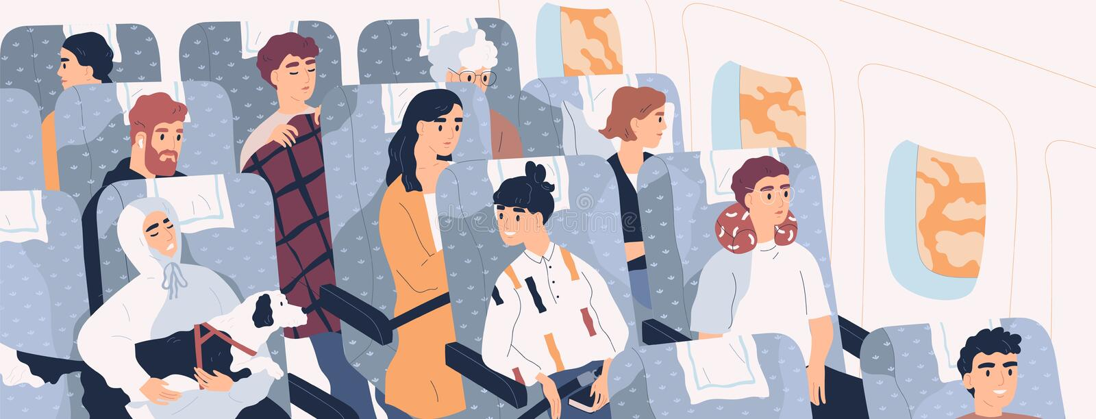 Passengers inside airliner. Funny people sitting on seats in modern aircraft cabin. Cute men and women aboard plane vector illustration