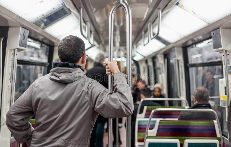Passengers inside metro subway train royalty free stock images