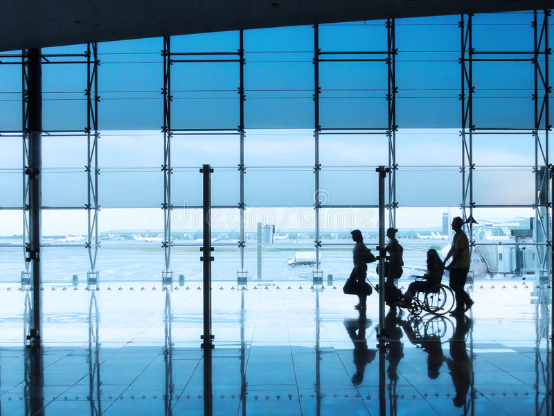Passengers in the interior of the airport royalty free stock image