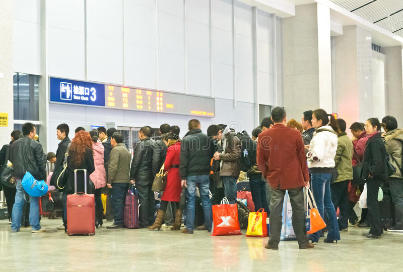 Passengers line up stock photography