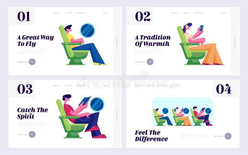 Passengers on Plane Board, Airline Transportation Service Website Landing Page Set. Tourists Travel by Airplane Sitting in Seats stock illustration