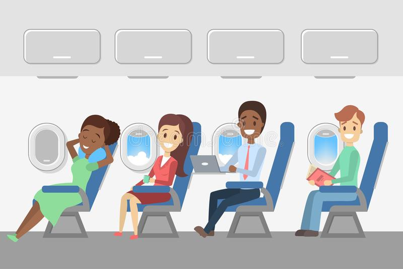 Passengers in the plane. Aircraft interior with happy young people in the seats. Travel and tourism. Flat vector illustration vector illustration