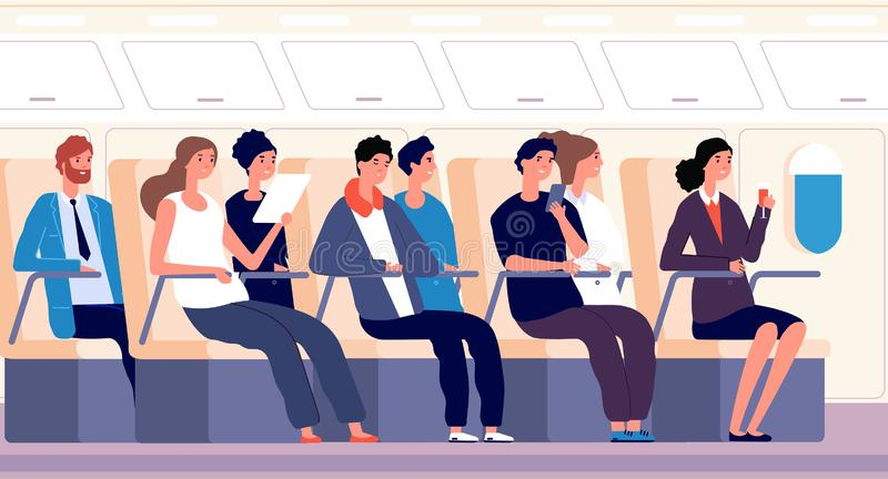 Passengers on plane. People traveling on airplane board. Airline transportation and tourism vector flat concept. Airplane travel, people passenger inside plane vector illustration