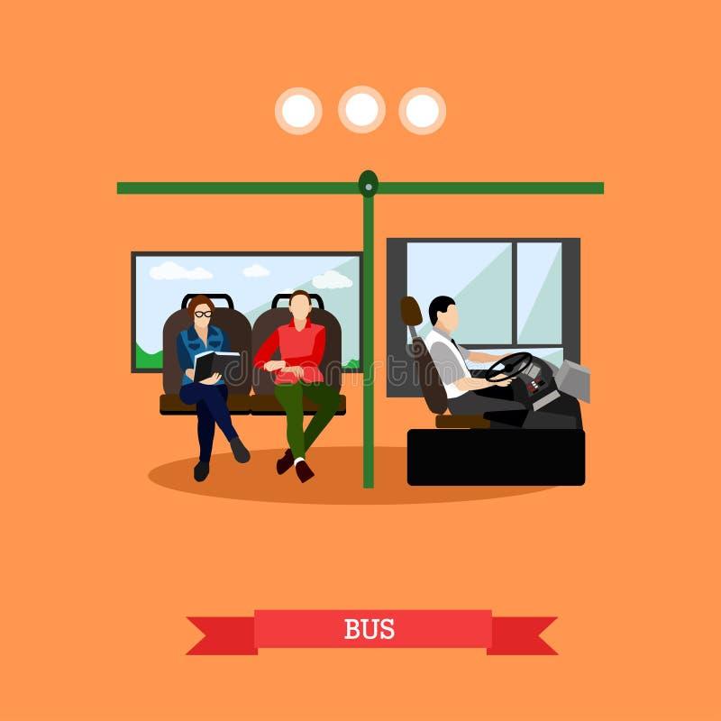 Passengers public transport concept vector banner. People in bus. stock illustration