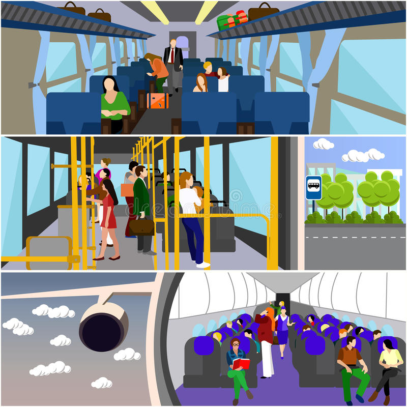 Passengers public transport concept vector banners set. People in bus, train and airplane royalty free illustration