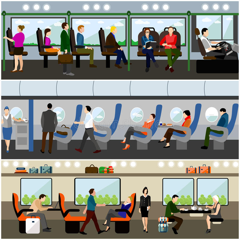 Passengers public transport concept vector banners set. People in bus, train and airplane. Transport interior stock illustration