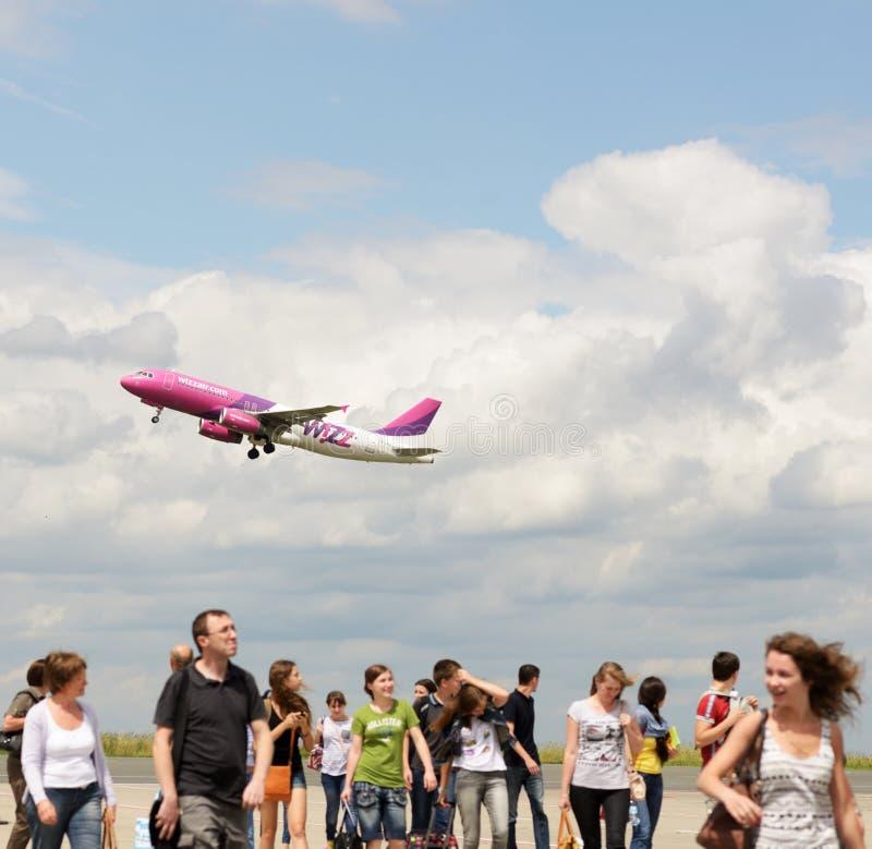 Passengers on a runway stock photo