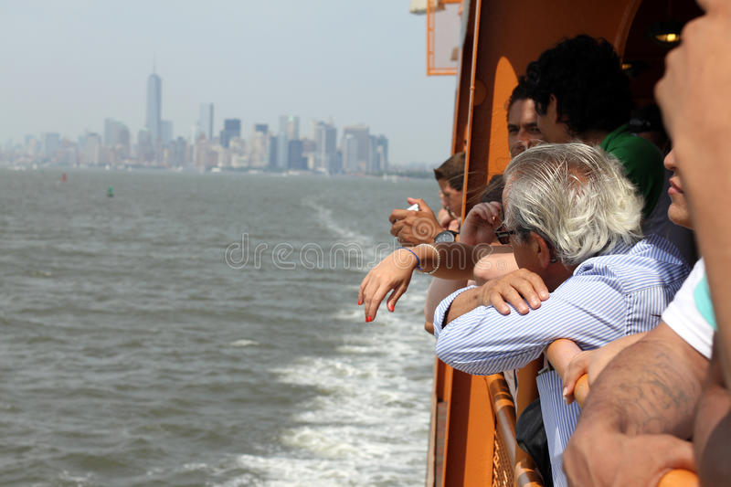 Passengers on Staten Island Ferry NYC stock photography