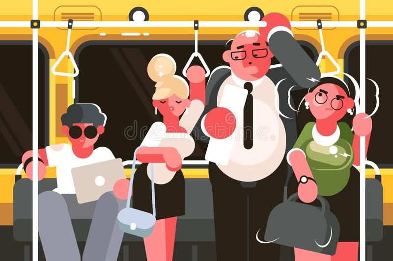 Passengers in subway car. Rush hour in public transport. Vector illustration royalty free illustration