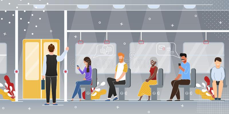 Passengers in Subway Train Wagon Vector Concept royalty free illustration