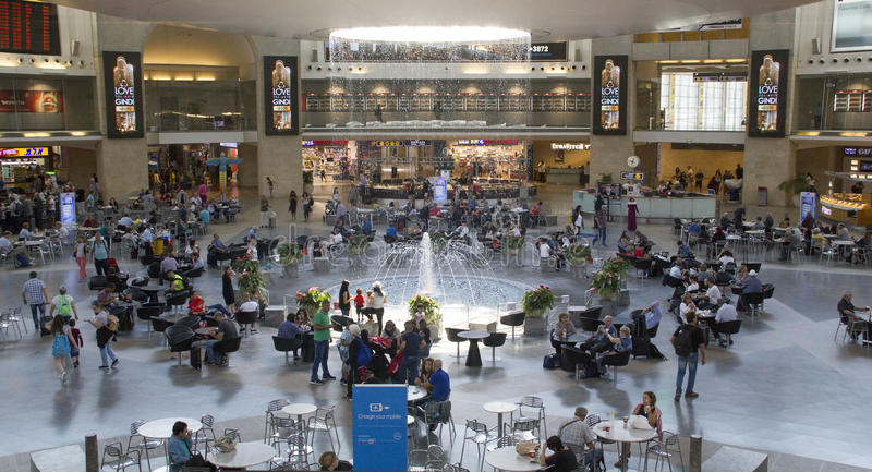 Passengers In Terminal 3 of Ben Gurion Airport, Israel.It considered to be among best airports in the Middle East due to its pass stock photo