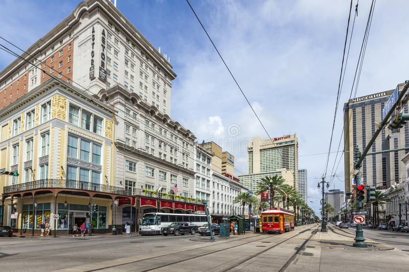 passengers travel with the street car at Canal street downtown New Orleans royalty free stock photos