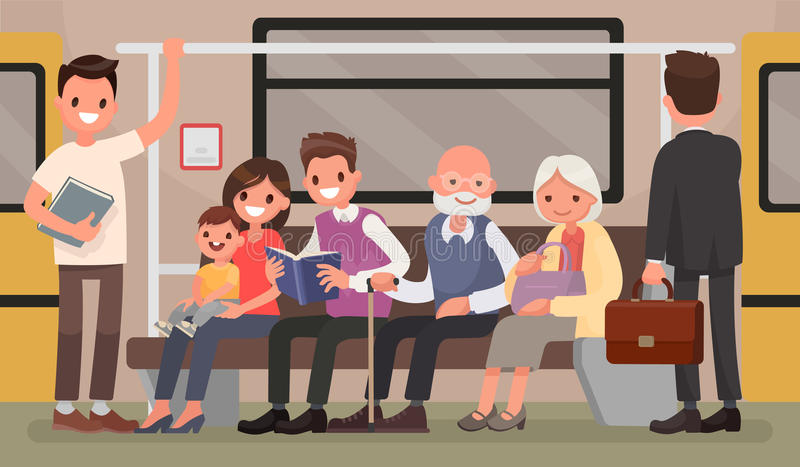 Passengers of the underground. People and public transport. Vector illustration in a flat style royalty free illustration