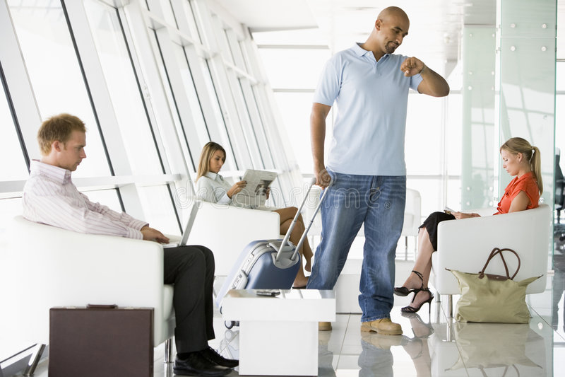 Download Passengers Waiting In Airport Departure Lounge Stock Image - Image: 6082553