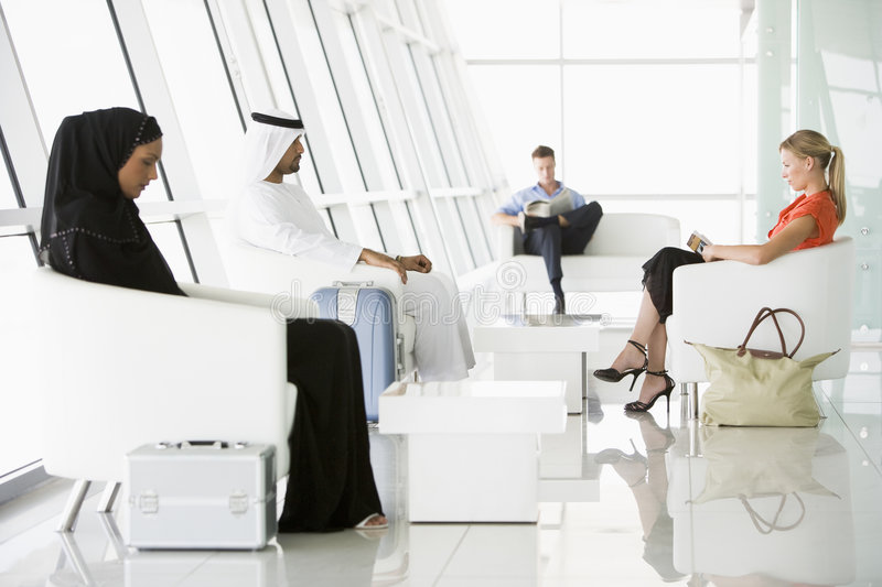 Download Passengers Waiting In Airport Departure Lounge Stock Image - Image: 7037155