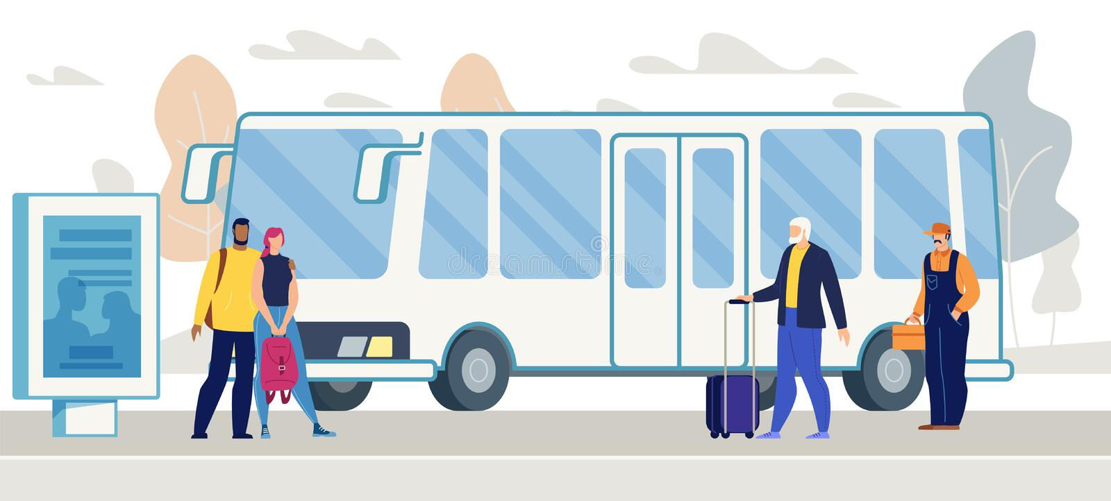 Passengers Waiting Bus on City Bus Stop Vector stock illustration