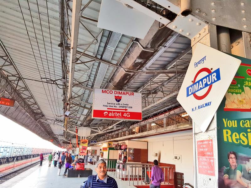 Railway platform of Dimapur railway station. Passengers are waiting for train on one of the railway platform of Dimapur railway station stock photos