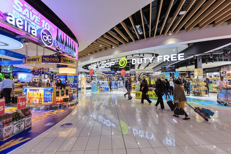 Duty free stores at Auckland International Airport, New Zealand royalty free stock photos