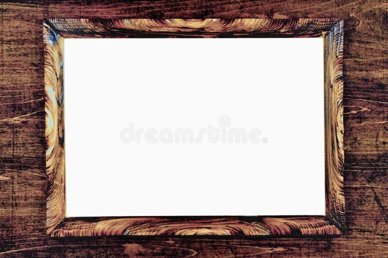 Passepartout strict de cadre en bois de Brown sur le fond blanc illustration stock