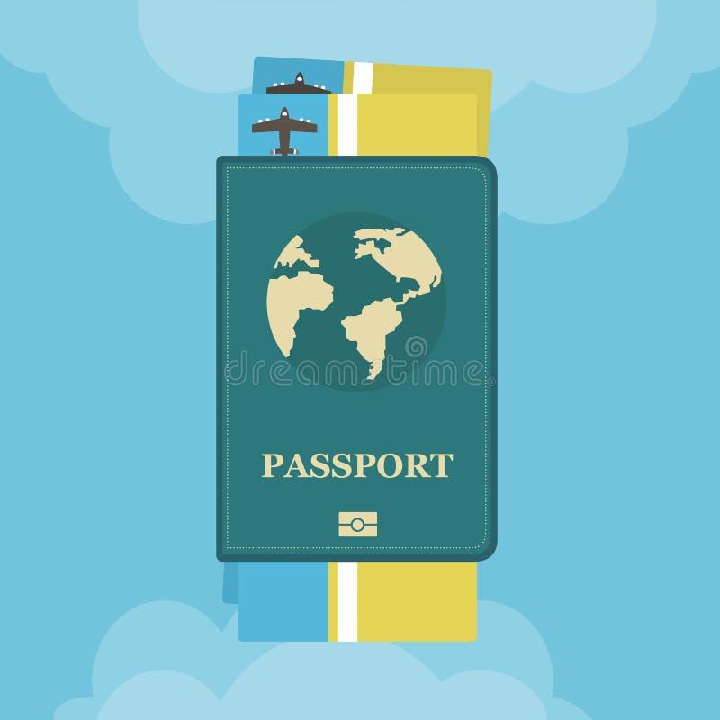 Passeport avec des billets d'avion avec des nuages plats Voyage et tourisme d'icône de concept illustration de vecteur
