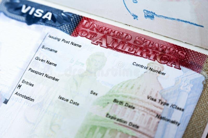 Passeport avec le visa des Etats-Unis images libres de droits