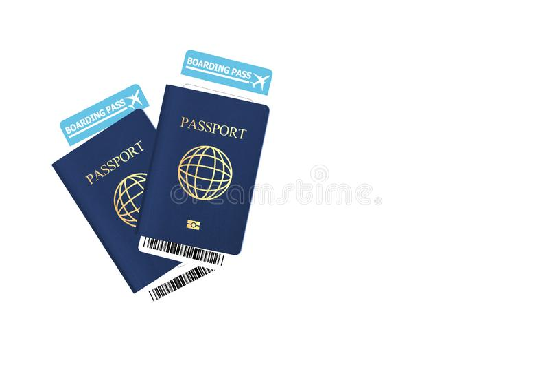 Passeport bleu de la couverture deux avec le billet de carte d'embarquement d'isolement photo libre de droits