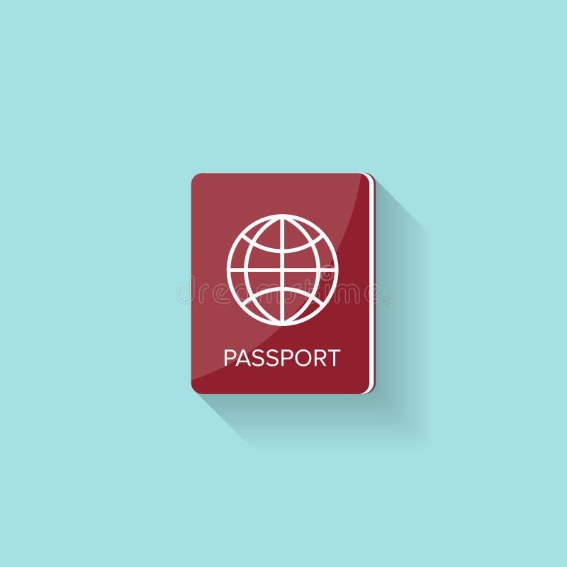 Passeport dans un style plat Voyage, émigration citoyenneté Document de passager Illustration de vecteur illustration libre de droits