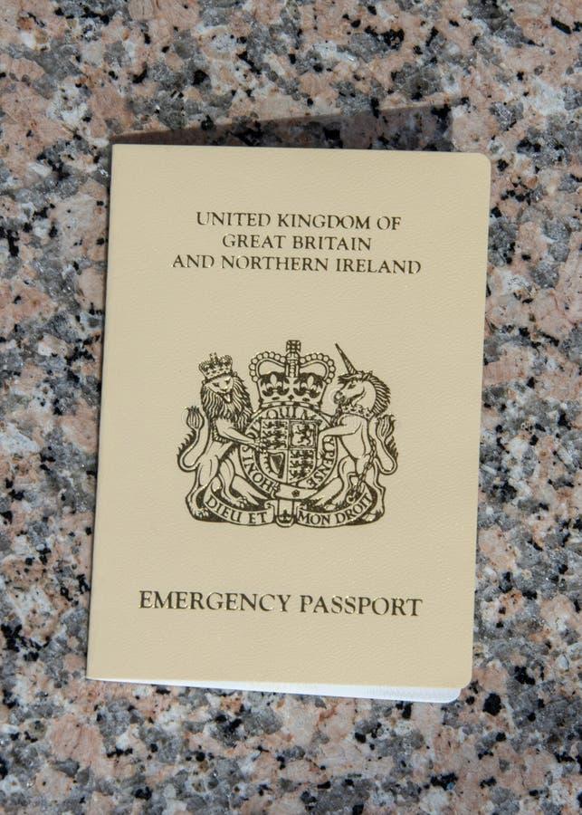 Passeport de secours fourni à un citoyen BRITANNIQUE par le consulat BRITANNIQUE dedans photo libre de droits