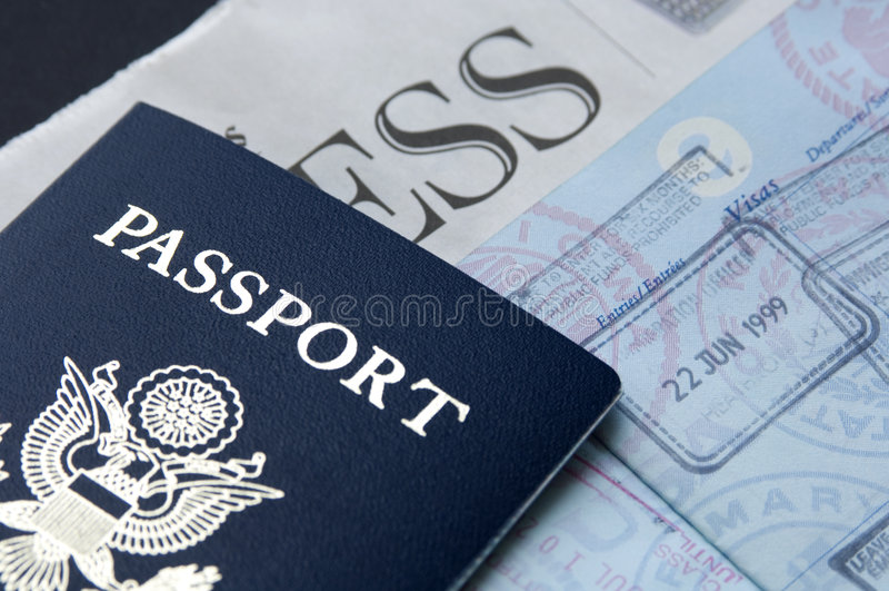 Passeport et affaires photos stock