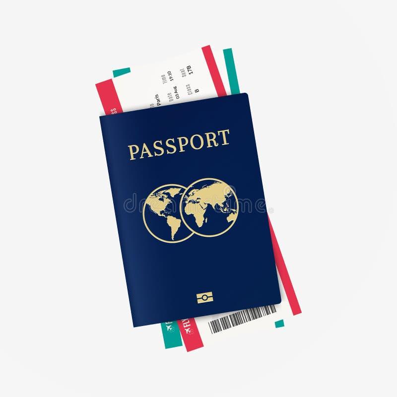 Passeport et billets d'avion biométriques illustration libre de droits