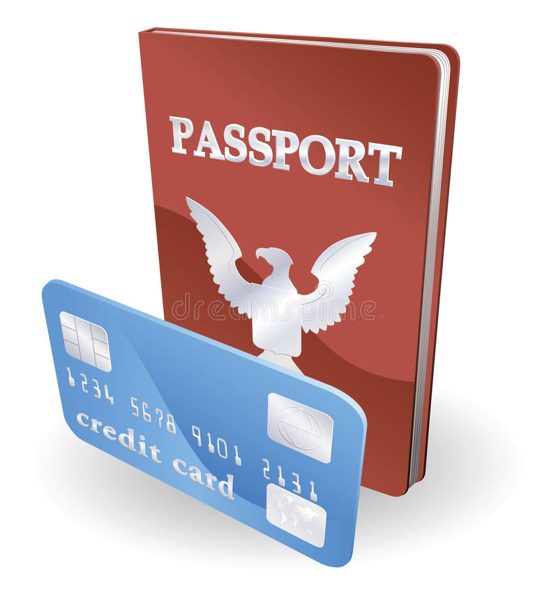 Passeport et illustration par la carte de crédit illustration de vecteur
