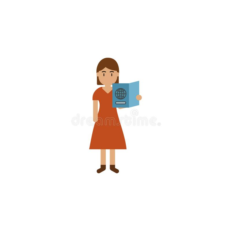 Passeport, icône de bande dessinée de femme Élément d'icône de voyage de couleur Icône de la meilleure qualité de conception grap illustration de vecteur