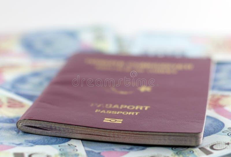 Passeport public de citoyen turc et billets de banque de Lire turque photographie stock libre de droits