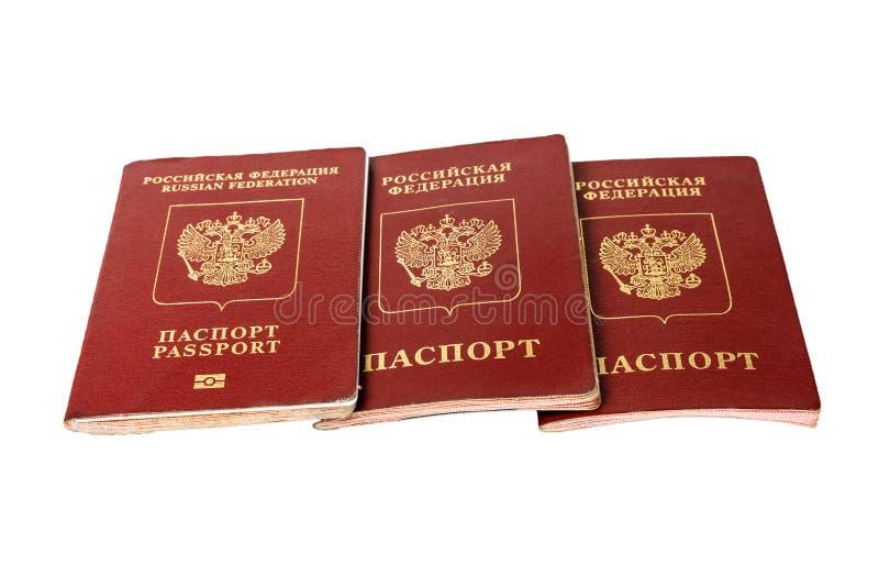 Passeport trois du citoyen de la Fédération de Russie image libre de droits