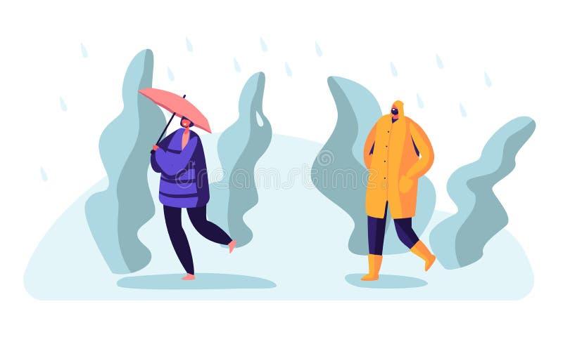 Passerby på vått regnigt höst- eller vårväder Lyckliga gjorde genomvåt kängor och kappor för folk bärande med att gå för paraplye royaltyfri illustrationer
