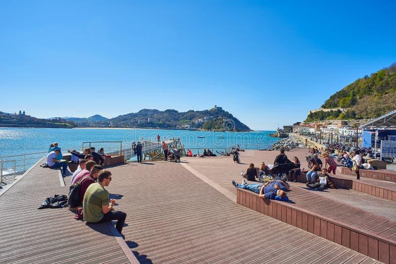 Passerella del porto di svago di San Sebastian Paese Basco, Guipuzcoa spain fotografia stock