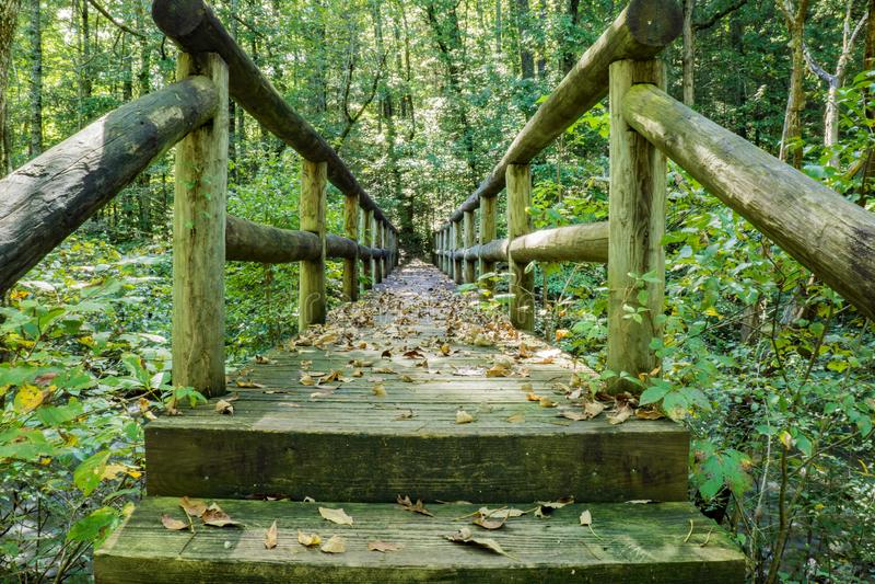 Passerella della viandante sopra Jennings Creek fotografie stock