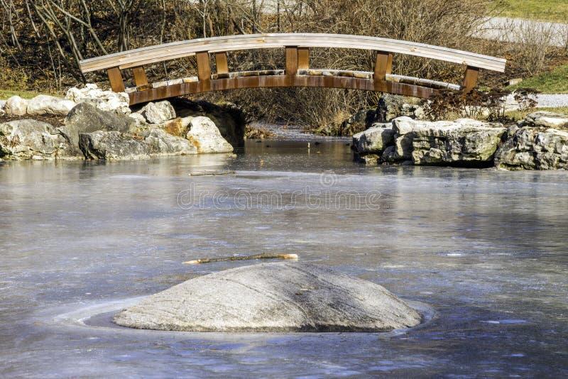 Passerella di legno pittoresca sopra uno stagno congelato di inverno, roccia immagini stock