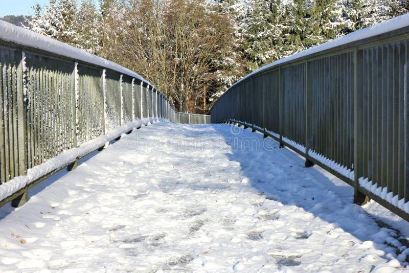 Passerella di Snowy nell'inverno immagini stock