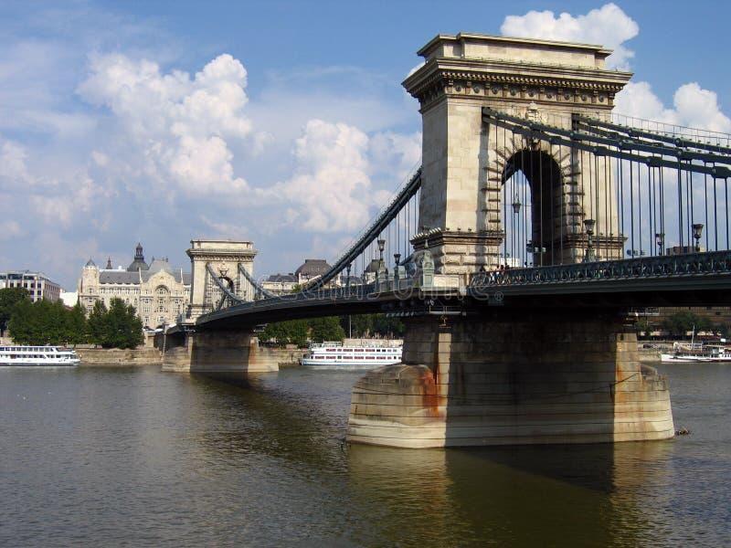 Passerelle à chaînes de Budapest, Hongrie image libre de droits