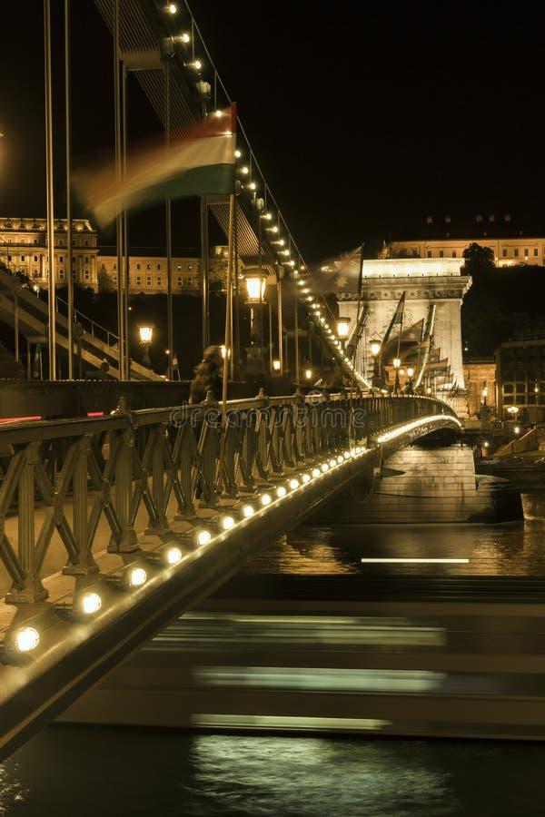 Passerelle à chaînes de Szechenyi à Budapest photographie stock libre de droits