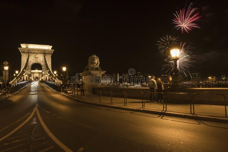 Passerelle à chaînes de Szechenyi à Budapest photographie stock