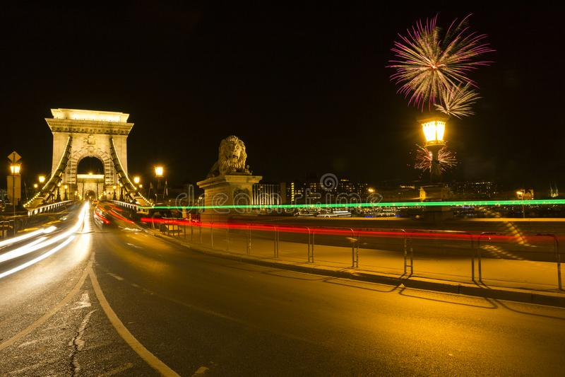 Passerelle à chaînes de Szechenyi à Budapest image stock