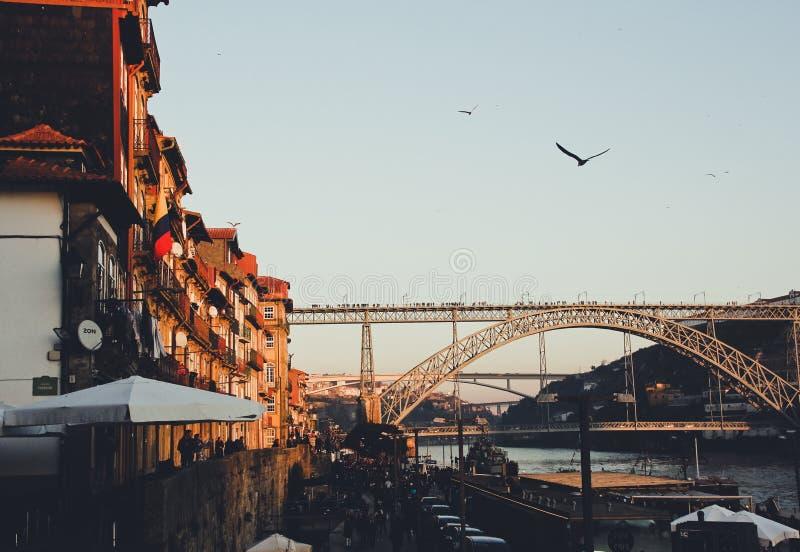 Passerelle au-dessus de fleuve photo libre de droits