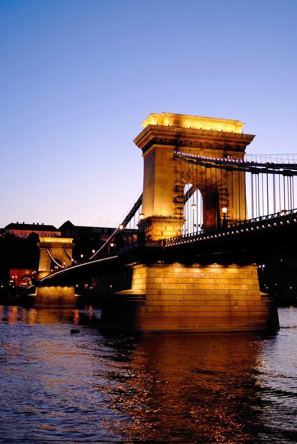 passerelle Budapest Hongrie à chaînes photographie stock