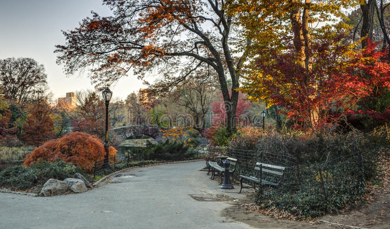 Passerelle Central Park, New York City de Gapstow photographie stock