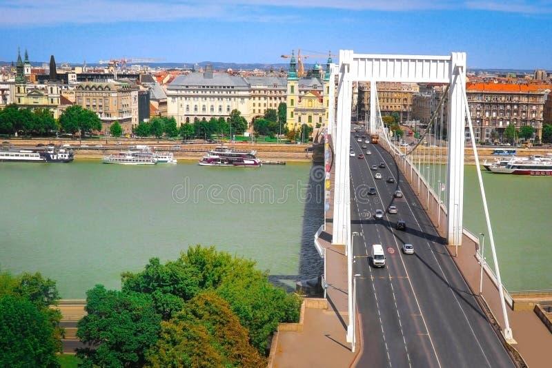 Passerelle d'Elisabeth à Budapest, Hongrie image libre de droits
